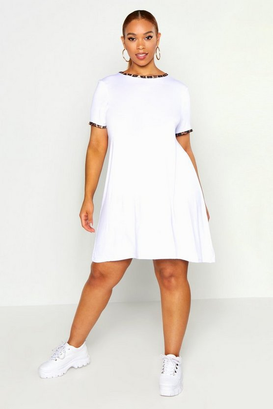 Womens White Plus Leopard Ringer Cap Sleeve Swing Dress