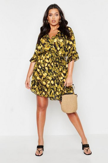 Womens Black Plus Lemon Printed Wrap Ruffle Skater Dress