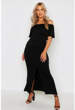 Womens Black Plus Ruffle Off Shoulder Maxi Dress