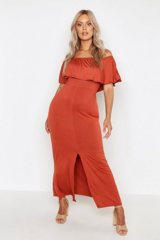 Womens Chestnut Plus Ruffle Off Shoulder Maxi Dress