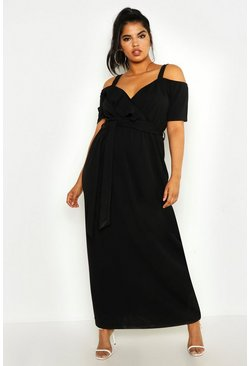 Womens Black Plus Plunge Ruffle Belt Maxi Dress