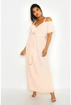 Blush Plus Plunge Ruffle Belt Maxi Dress