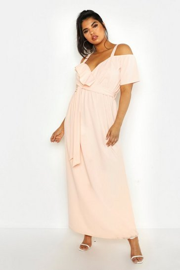 Womens Blush Plus Plunge Ruffle Belt Maxi Dress