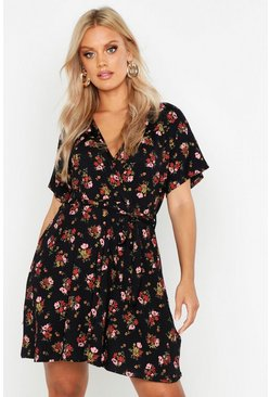 Black Plus Floral Tie Waist Wrap Tea Dress