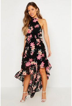 Womens Black Petite Floral Print Shirred Waist Maxi Dress