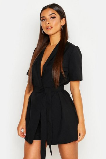 Womens Black Petite Utility Belted Playsuit
