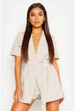 Stone Petite Utility Belted Playsuit