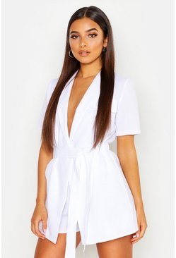 Womens White Petite Utility Belted Playsuit