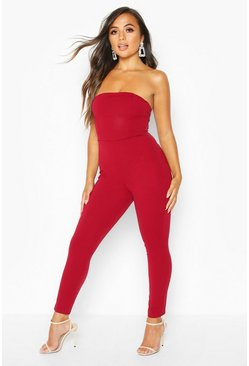 Womens Berry Petite Bandeau Straight Leg Jumpsuit