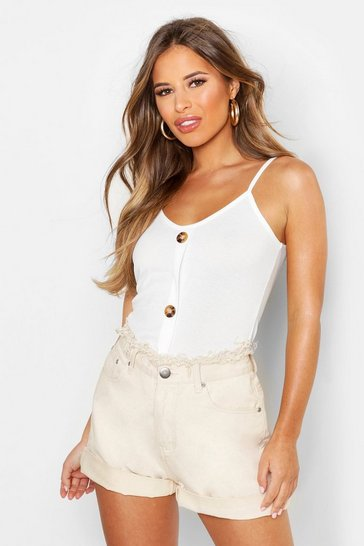 Womens Ivory Petite Rib Mock Horn Button Cami Top