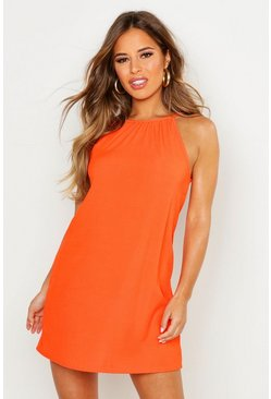 Womens Orange Petite Rib Strappy Shift Dress