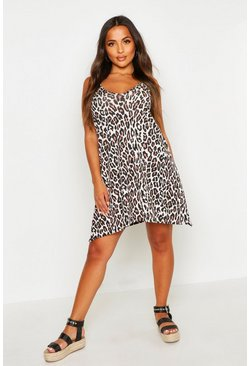 Womens Tan Petite Animal Print Swing Dress