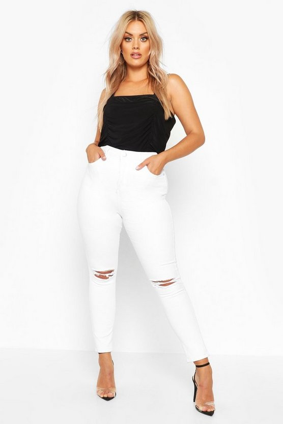 Womens White Plus Rip Knee Skinny Jegging