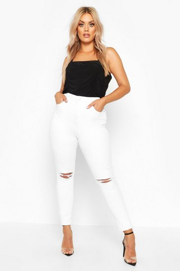 White Plus Rip Knee Skinny Jegging