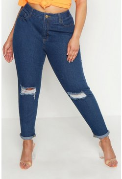 Womens Mid wash Plus Rip Knee Mom Jeans