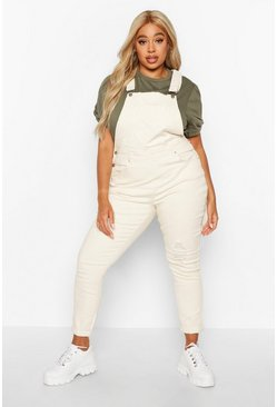 Womens Ecru Plus Pocket Detail Dungaree
