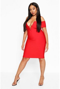 Womens Red Plus Sculpting Bardot V-Bar Bandage Dress