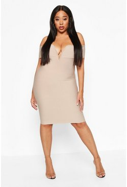 Stone Plus Sculpting Bardot V-Bar Bandage Dress