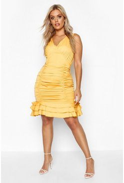 Mustard Plus Ruched Frill Hem Mini Dress