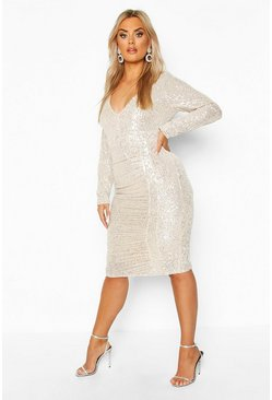 Womens Silver Plus All Over Sequin Ruched Midi Dress