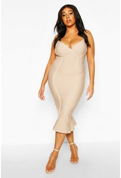Stone Plus Sculpting Bandage Fishtail Midi Dress