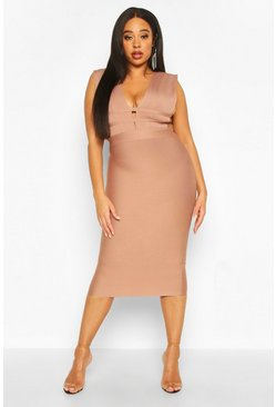 Mocha Plus Sculpt Deep V Sleeveless Bandage Dress