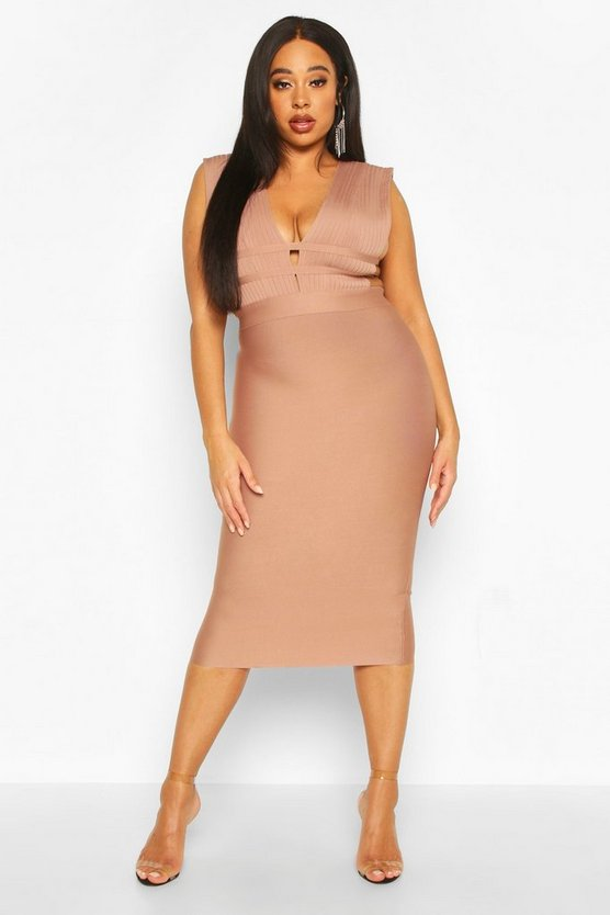 Womens Mocha Plus Sculpt Deep V Sleeveless Bandage Dress