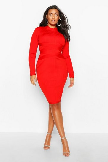 Womens Red Plus Sculpting High Neck Midi Dress