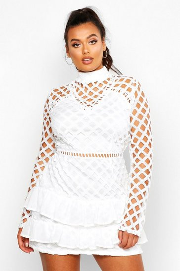 White Plus Premium High Neck Statement Ruffle Dress