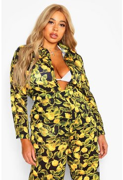 Black Plus Lemon Print Beach Shirt