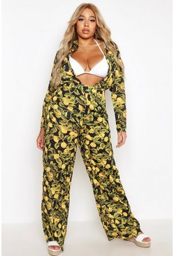Womens Black Plus Lemon Print Beach Trouser