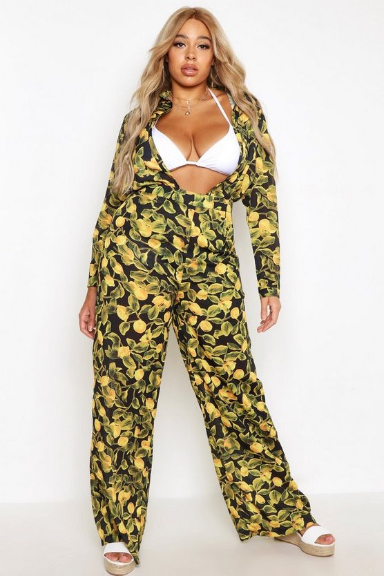 Plus Lemon Print Beach Trouser
