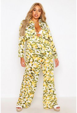 Womens White Plus Lemon Print Beach Trouser