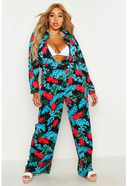 Womens Black Plus Tropical Print Beach Trouser