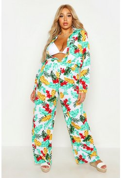 White Plus Tropical Print Beach Trouser