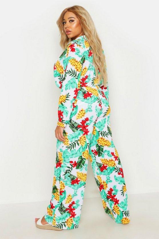 Plus Tropical Print Beach Trouser