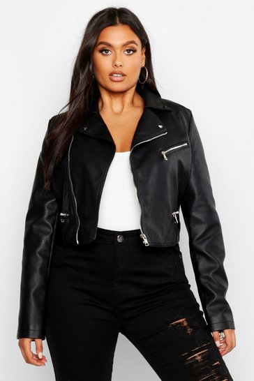 Womens Black Plus Leather Look Stud Collar Cropped Biker Jacket