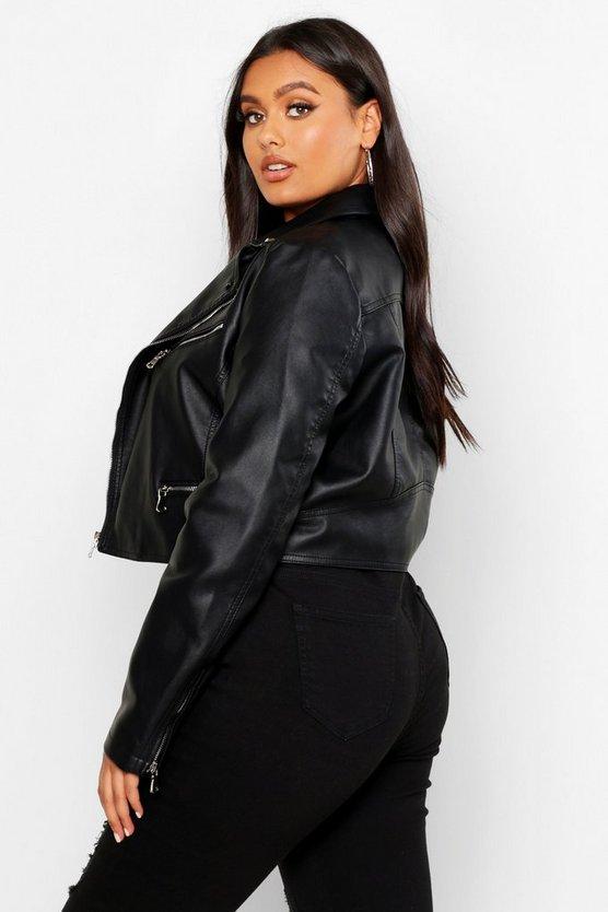 Plus Leather Look Stud Collar Cropped Biker Jacket