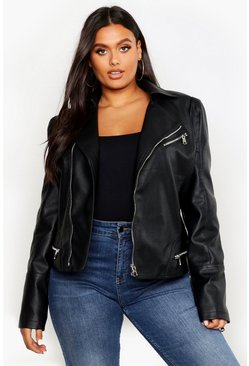 Womens Black Plus Leather Look Zip Detail Biker Jacket