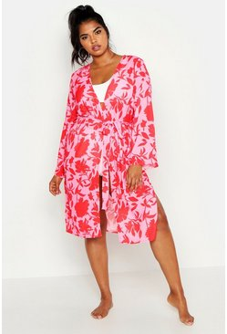 Womens Pink Plus Bright Floral Print Belted Midi Kimono
