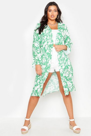 Womens Green Plus Bright Floral Print Belted Midi Kimono