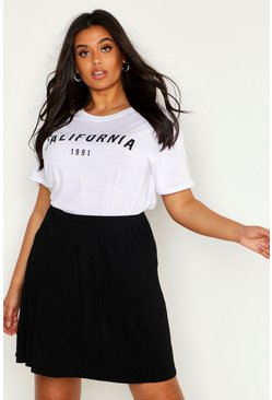 Womens Black Plus Basic Jersey Skater Skirt
