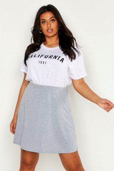 Womens Grey marl Plus Basic Jersey Skater Skirt