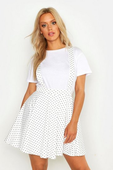 Womens White Plus Polka Dot Pinafore Skirt