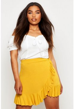 Womens Mustard Plus Ruffle Skater Skirt