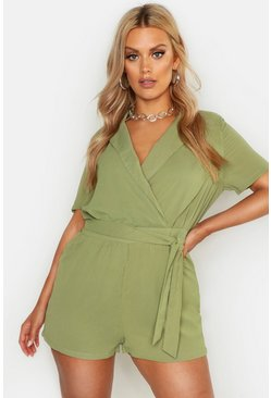 Womens Khaki Plus Plunge Utility Self Belt Romper