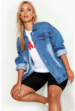 Womens Mid blue Plus Oversized Denim Jacket