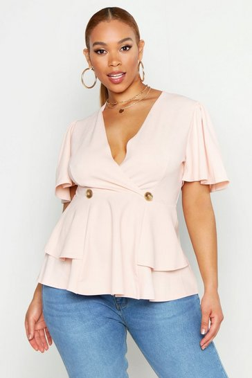 Womens Blush Plus Button Angel Sleeve Ruffle Peplum Top