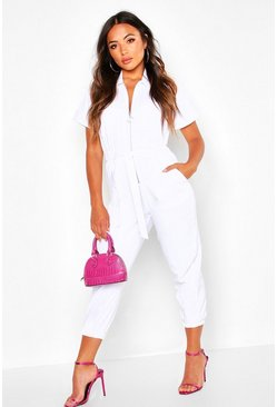 Womens White Petite O-Ring Zip Through Boilersuit
