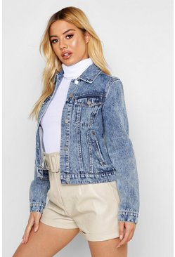 Womens Blue Petite Soft Acid Wash Denim Jacket